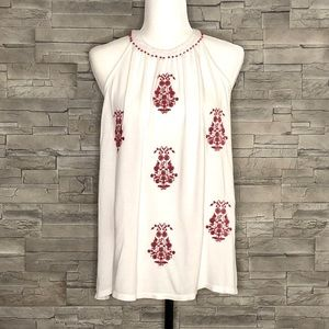 Loft white halter top with red embroidered flowers